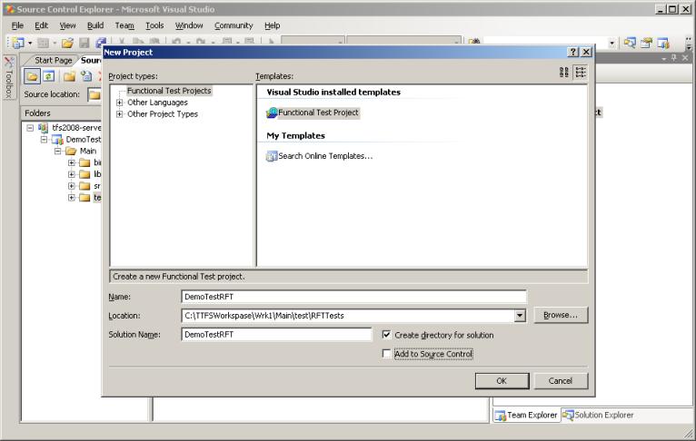 Рисунок 12. Создание нового проекта для IBM Rational Functional Tester