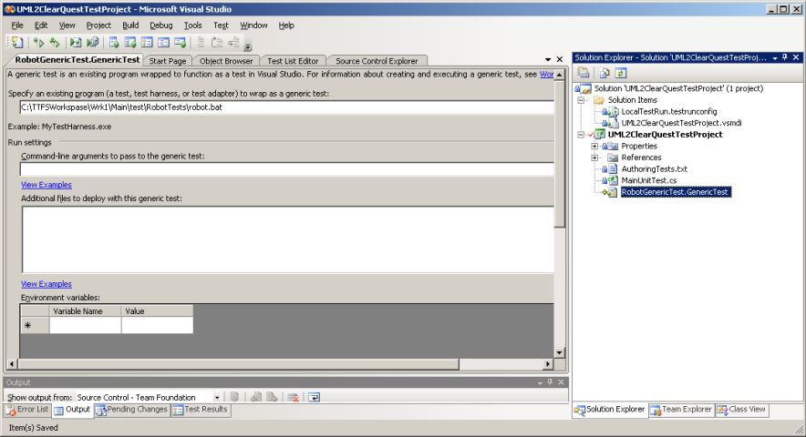 Рисунок 4. Внешний тест в Microsoft Visual Studio